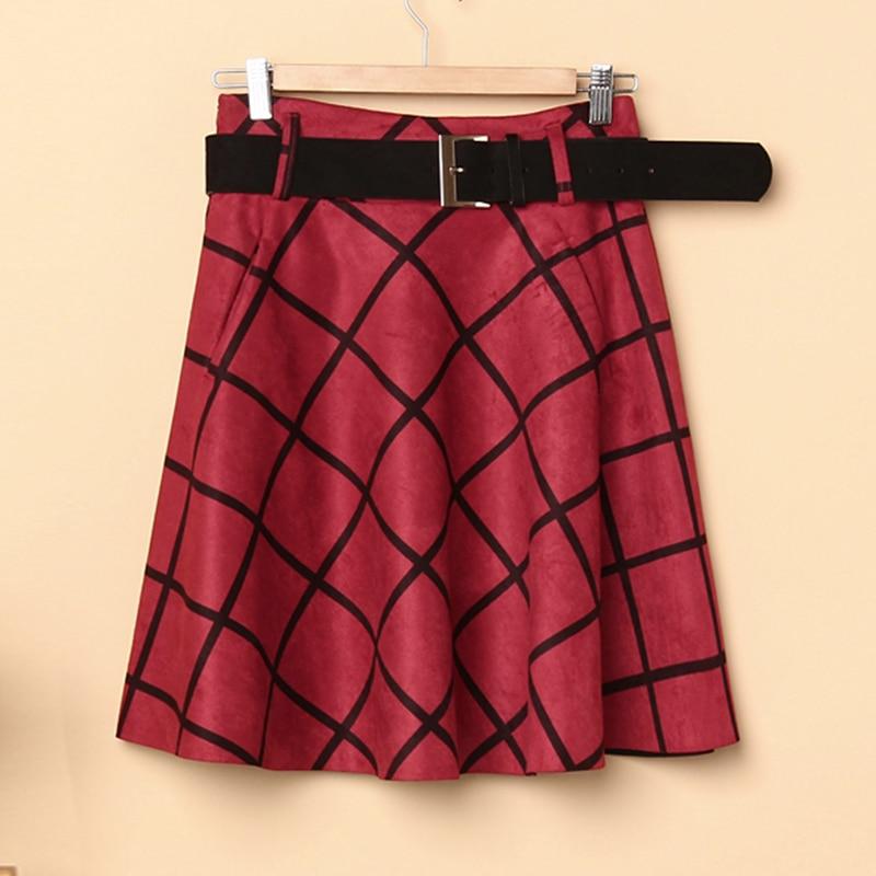 Green Vestido 2019 Las wine Deep Midi Red Vintage Cuadros Cintura Invierno Wmswjh Faldas Mujeres Alta Ante Jupe camel Falda De Mujer qwSz7TF4