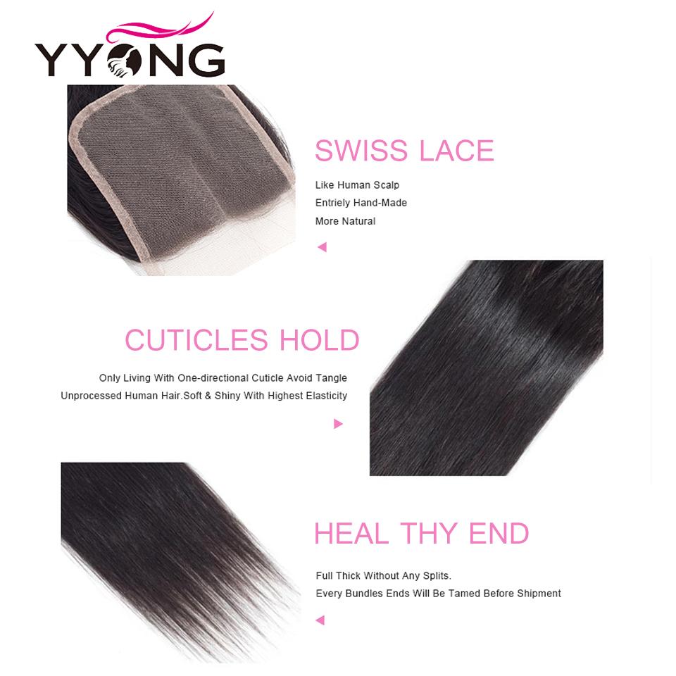 Yyong  Straight Hair Lace Closure Free/Middle/Three Part 100%  4X4 Medium Brown Swiss Lace Top Closure 6