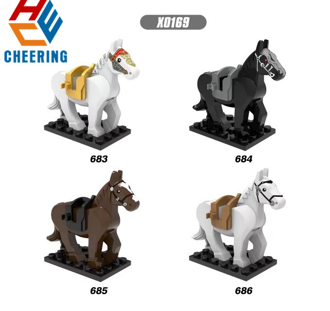 Single Sale Building Blocks Hobbit Rome Knights Knight Wars Blue Horse Crown Action Collection Toys For Children X0169
