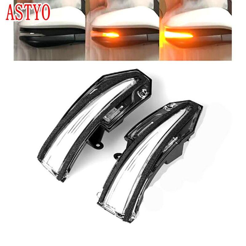 ASTYO voiture rétroviseur arrière LED coulant à l'eau rétroviseur clignotant pour Toyota RAV4 XA40 2013-2018 Highlander XU50 14-18