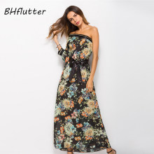 BHflutter Maxi Dress New Arrival 2018 Fashion One Shoulder Sexy Party Dress Half Sleeve Long Summer Dress Casual Chiffon Dresses(China)