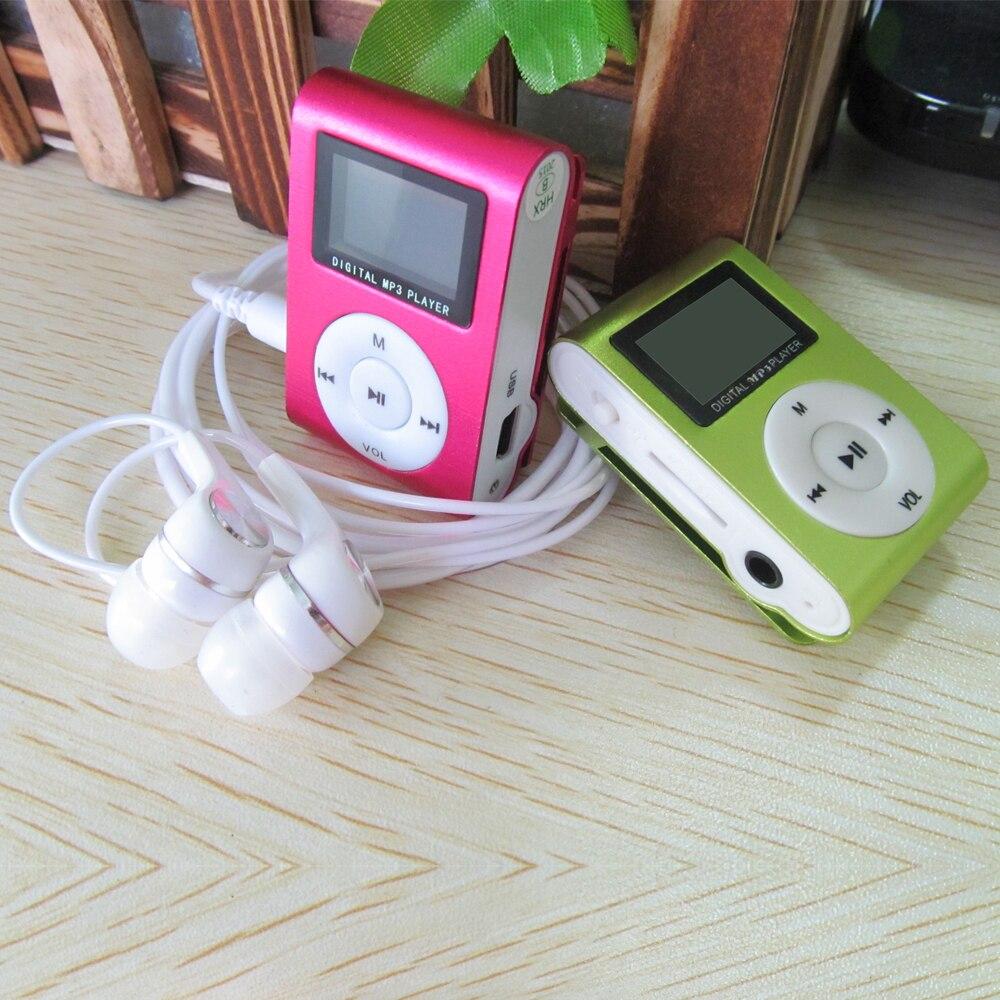 Новинка 2015 ЖК-дисплей Экран Металл Мини Clip MP3-плееры + наушники + кабель USB с микро-tf/SD слот Портативный mp3 музыкальный плеер