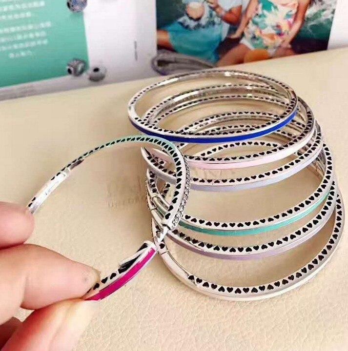 925 bracelet en argent sterling bracelets porte-bonheur bracelet amour zircone coeur fermoir bracelet pour cadeau petite amie