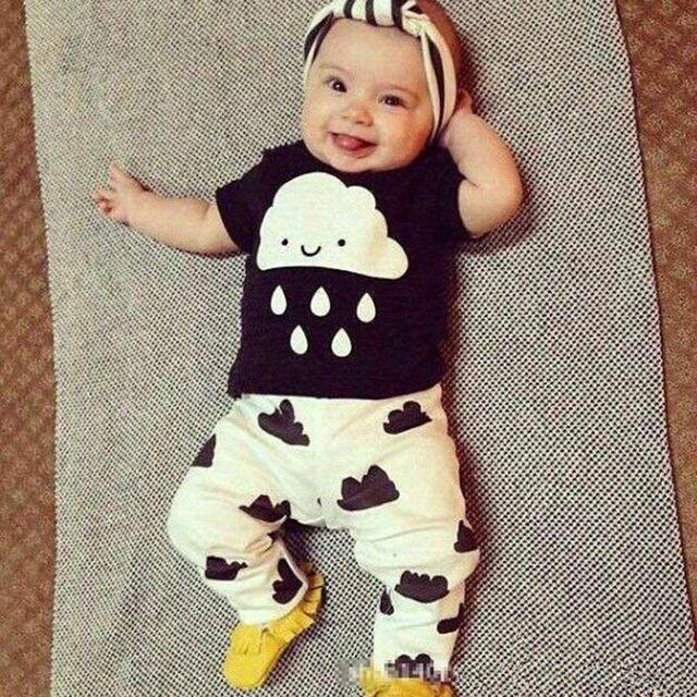 dd91a7c94483 Newborn Baby Boys Girls Toddler Kids T shirt Tops+Pants Outfit 2pcs ...