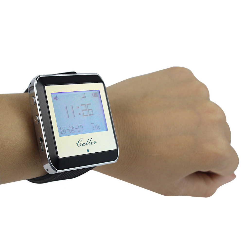 ФОТО Wireless Watch Restaurant Coaster Pager Calling Receiver Pager System For Hospital Waiter Nurse 433MHz Caller Clock F4399A