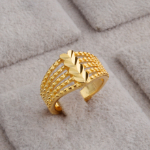JEEXI Fashion Heart Shape Hollow Out  Gold Plated Luxury Wedding Bridal Rings For Woman High Quality Adjustable Open Ring