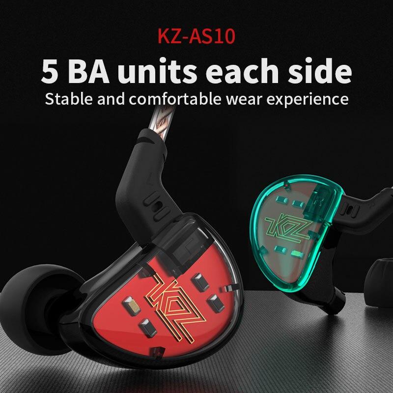 2018 plus récent KZ AS10 5BA unité d'entraînement dans l'oreille écouteur 5 Armature équilibrée détachable détacher 2Pin câble DJ HIFI moniteur écouteur