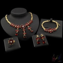 Yulaili Free Shipping 2017 New Arrival Zinc Alloy Red Zircon Ladies Pure Gold Dubai Jewelry Sets