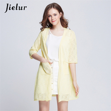 Jielur 2019 Fashion New Sweater Women Hollow Thin Cardigans Pure Color Knitwear Long Cardigan Women's Clothing Kimono Jacket