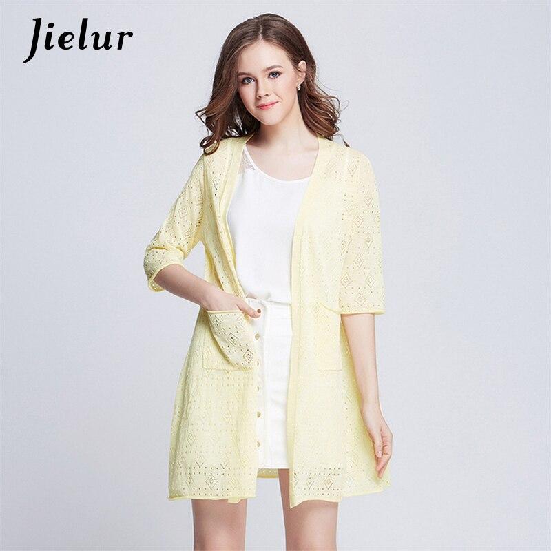 Jielur 2019 Módní nový svetr dámské duté tenké vesty Pure Color Pletené zboží Dlouhý svetr Dámské oblečení Kimono Jacket
