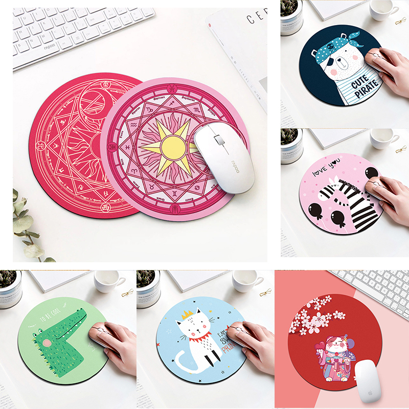 20cm Cartoon Animal Pattern Mouse Pad Round Mousepad Office Mice Pad Rubber Home Computer Anti-slip Table Mat Study Room PC