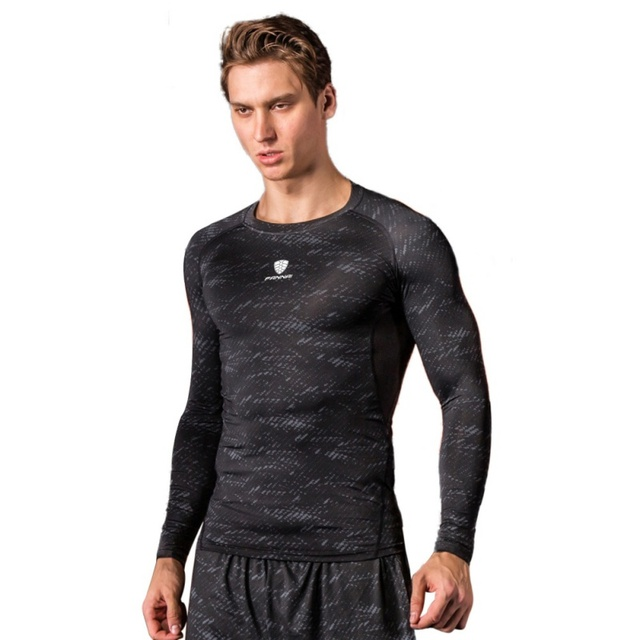 Fitness Compression  Breathable T-Shirt Men Superman Bodybuilding Long Sleeve Quick-drying T-Shirt Crossfit Tops Sport Clothes
