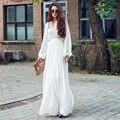 Women Soild White Dress Boho Party Long Maxi Beach Dress Chiffon Long Sleeve Sundress