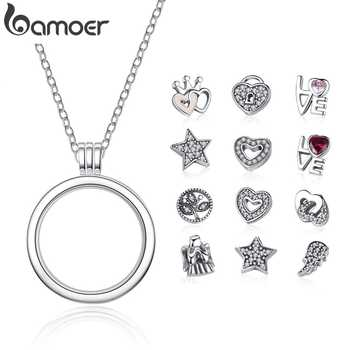 BAMOER Genuine 925 Sterling Silver Medium Petite Memories Floating Locket Necklaces & Pendants Sterling Silver Jewelry PSF001 - DISCOUNT ITEM  35% OFF All Category