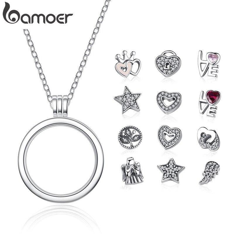 BAMOER véritable 925 argent Sterling moyen Petite mémoire flottant médaillon colliers et pendentifs bijoux en argent Sterling PSF001