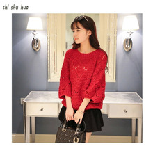 2019 Promotion New Child Clothing Sweater Bat Sleeve Mixed Color Knitted Hook Flower 8-14 Y Quality Childrens Wear Hot Sale