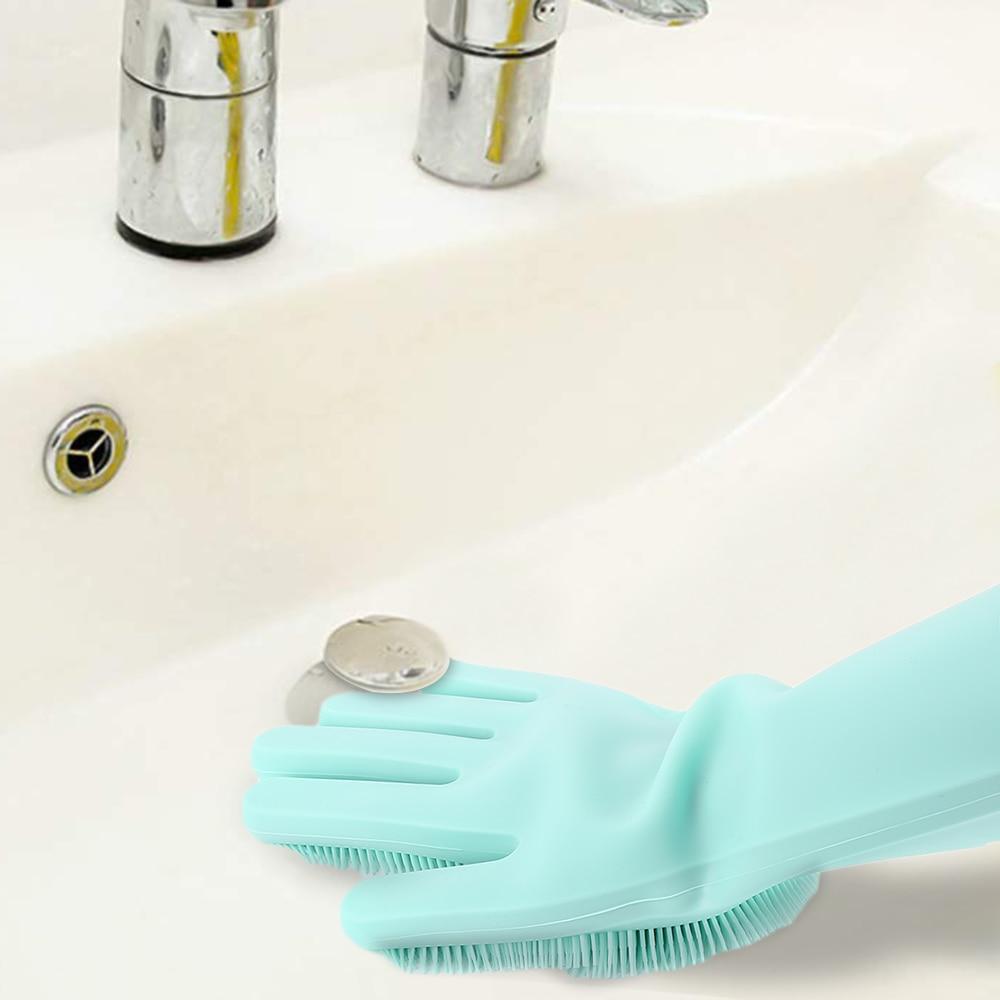 Food Grade Dishwashing Gloves Magic Rubber Silicone Dish Washing Gloves And Kitchen Scrubber 11