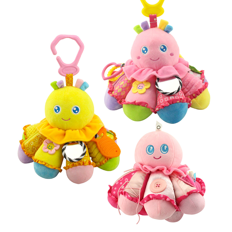 Educational safe mirror ring bell rattle hanging plush toy button Octopus kids ring paper fun soft baby toy WJ240 mini baby elephant plush toy sounding musical rattle baby toy soft educational plush toy