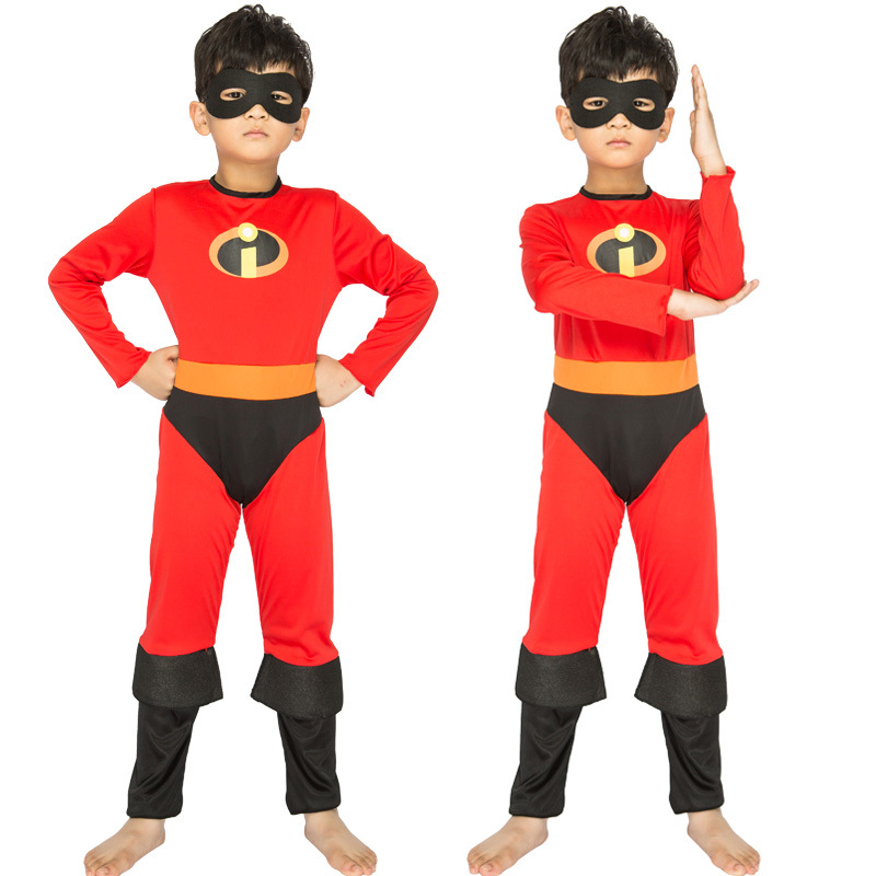 2019 Cosplay Mr. Incredible 2 Dash Parr jumpsuit Incredibles boys Kids hero bodysuit mask set Halloween Carnival child Costume