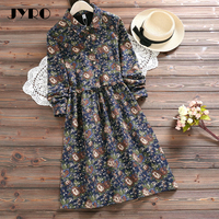 JYRO Brand Mori Women S Dresses New Sen Line Printing Long Loose Large Size Knee Length