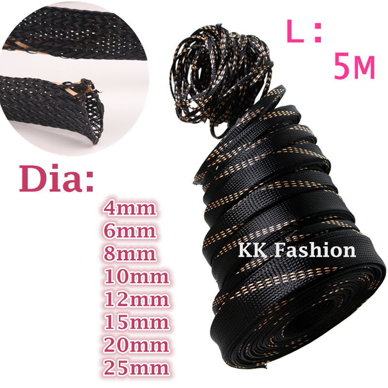 5M4/6/8/10/12/15/20/25mm PET Braided Expandable Wire Gland Sleeve Cable protection High Density Sheathing Insulation sleeves
