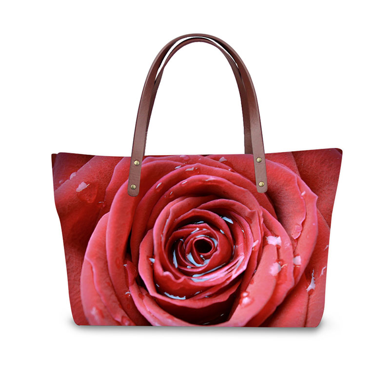 Handbag for Women 2019 New Fashion Bags Shoulder Bag Beach Bag 3D Flora Rose Print Pattern Design Tote Bolso in Shoulder Bags from Luggage Bags