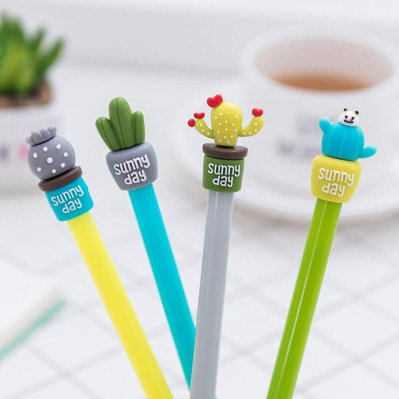 24 pcs/lot Kawaii Cactus potting gel pen 0.5mm black ink pens cute succulent plants school office supplies Stationery Gift 04125