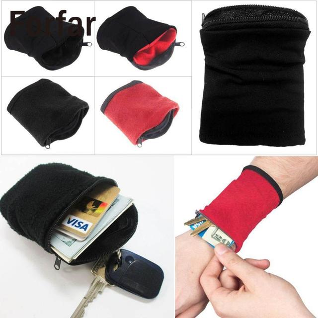Forfar 1PC Wrist Wallet Pouch Band Fleece Zipper Gym Cycling Sport Hiking Travel Safe Wristbands Outdoor Running Cycling Tools