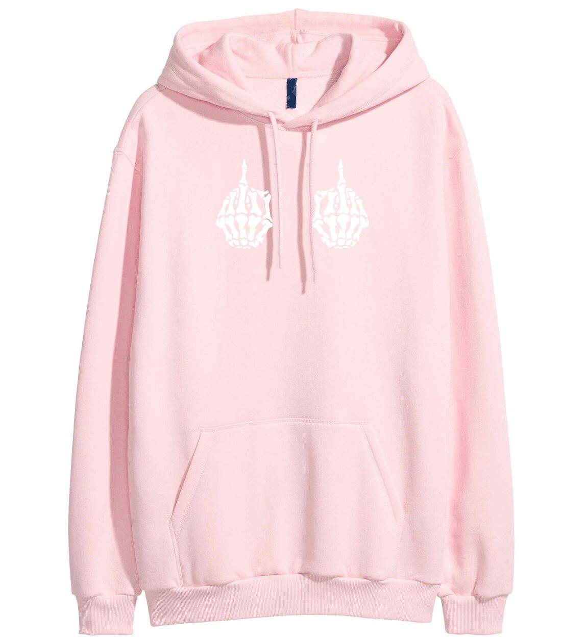 Both Skeleton Hand Print Hip Hop Hoodies For Women 2019 Spring Winter Fleece Sweatshirt Kpop Clothes Pullover Female Tracksuit
