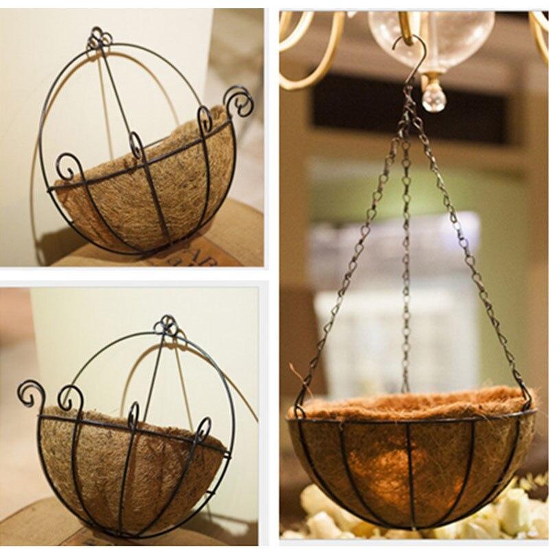 Metal Hanging Flowerpot Planter Basket Garden Home Decoration Indoor