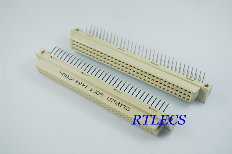 100pcs DIN 41612 Connector 2 Rows 64 Positions Receptacle Female Socket Right Angle Through Hole PCB