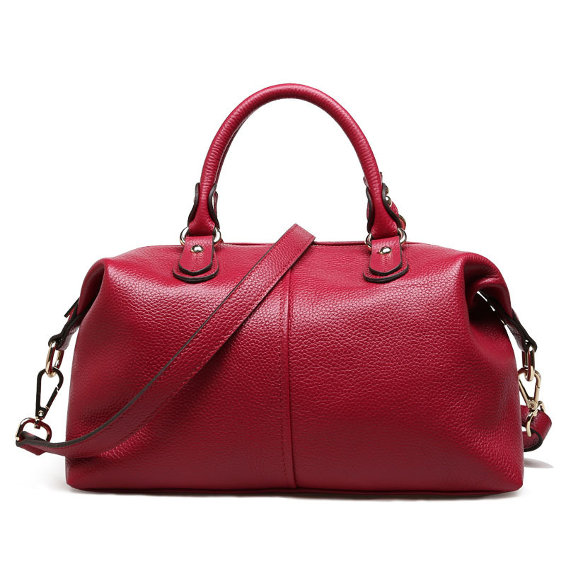 Genuine Leather Top handle Bags For Ladies High Quality Women Messenger Bags Bowling Tote Handbags MQ25