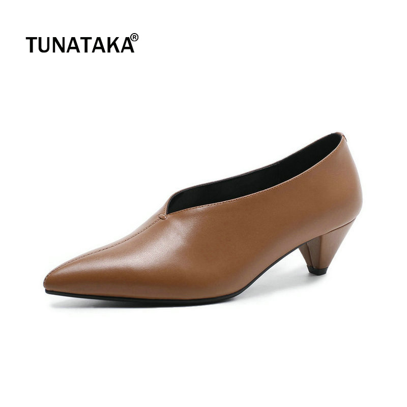 Genuine Leather Comfort Spike Heel Pointed Toe Woman Lazy Pumps Fashion V-type Open Dress High Heel Shoes Woman Black Brown skirts gulliver for girls 218gsgc6103 denim skirt children clothes kids