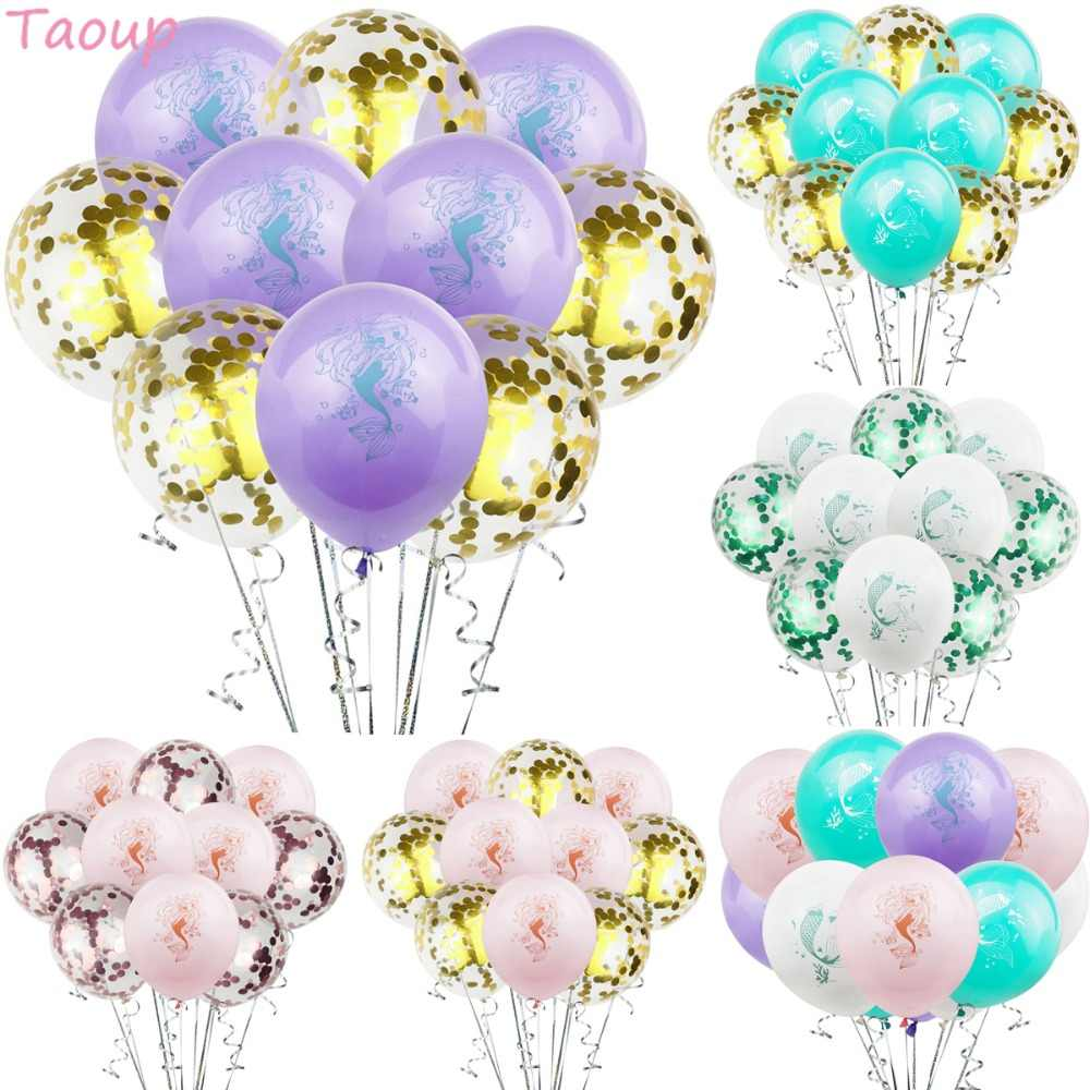 Taoup Foil Mermaid Balloons Latex Theme Confetti Ballons Oceanic Happy Birthday Decors for Kids Little Mermaid Party Supplies