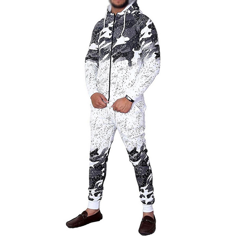 Symbool Van Het Merk Vertvie 2019 Mannen Running Sets Sport Jumpsuit Ademend Fitness Gym Pak Heren Hooded Sport Set Camouflage Gradiënt Set Uitloper