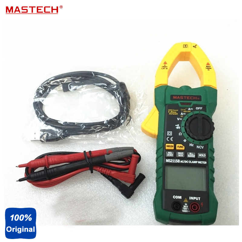 MASTECH MS2115B 6000 Counts Digital AC/DC Clamp Meter with NCV True RMS AC/DC Voltage Current Tester Detector цена