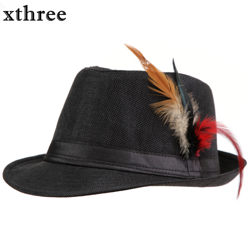 Xthree Trendy Unisex Side with feathers Fedora Trilby Gangster Cap For Women Summer Beach Sun Straw Panama Hat Men Fashion Hats trendy cotton fedora hat cap black