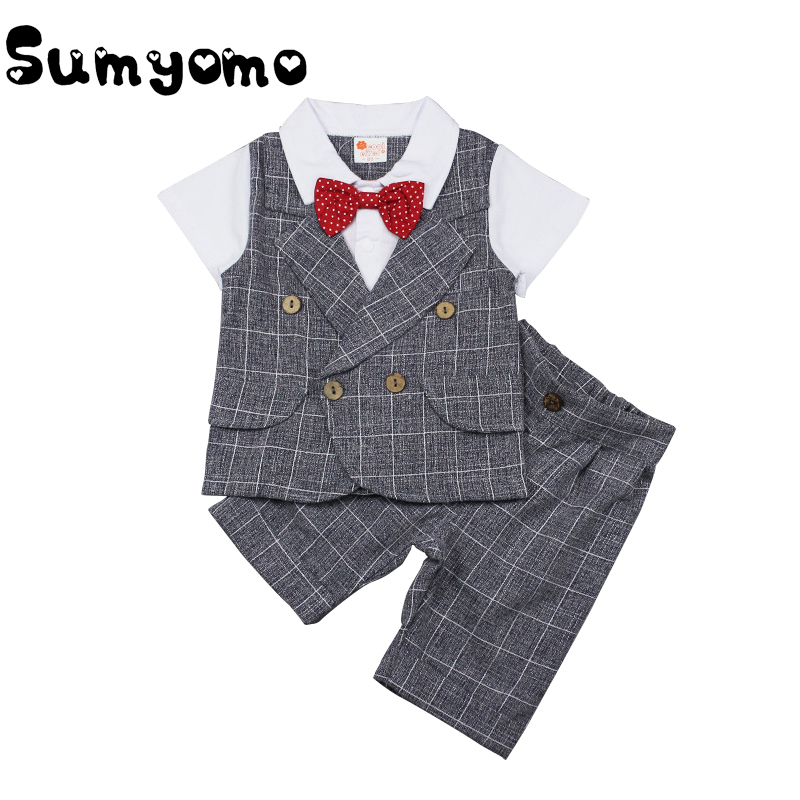 Toddler Baby Children Gentleman Boys Summer Short-Sleeved Suit Pants 2pc/ sets Clothing Plaid Suit Clothes formal Wedding