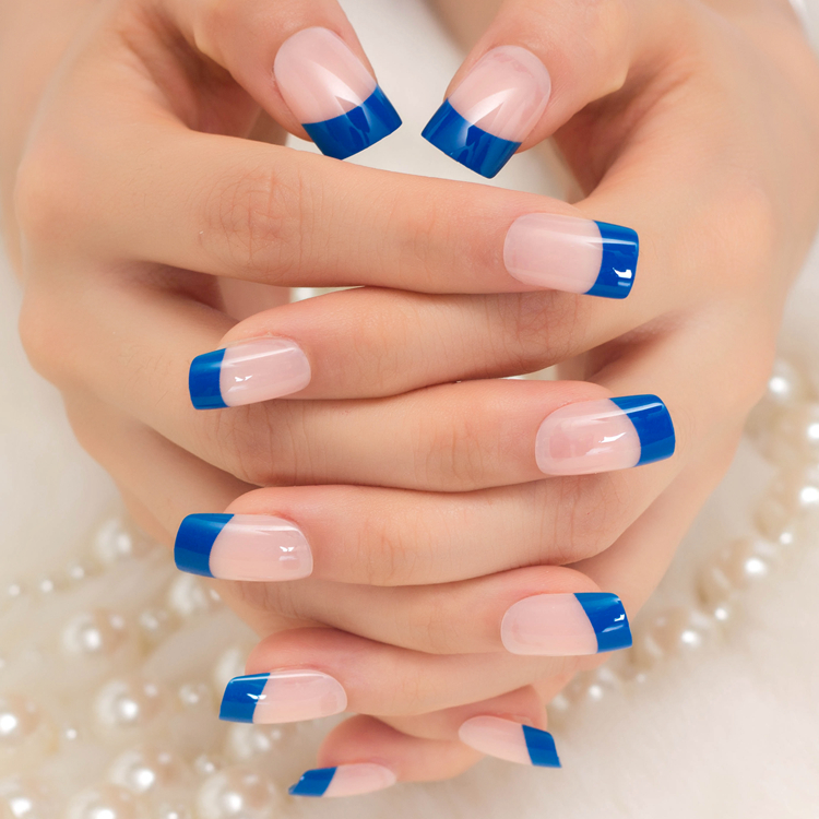 French Fake Nail Natural Blue 24pcs Short Full Cover Simple Design ...