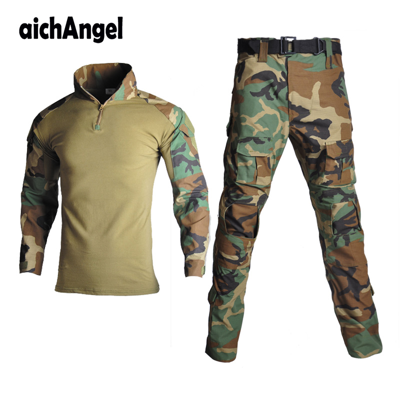 Man Tactical Camouflage Military Uniform Clothing Suit Men Army Clothes Sets Airsoft Combat Military Shirt Cargo