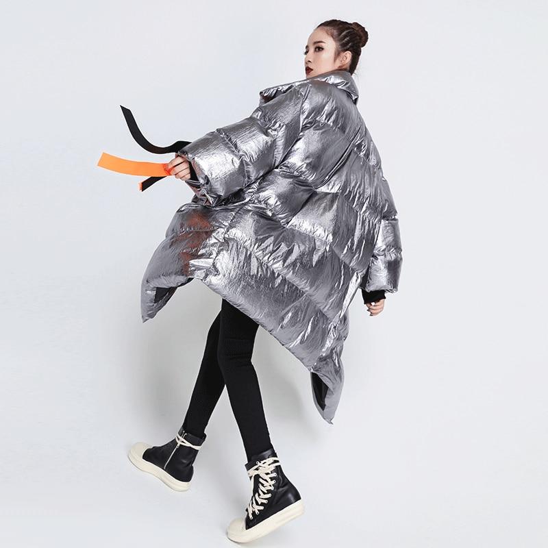 Femme Asymétrique Longues Nouvelle Europe Unie Zll1355 xitao Black Lâche Manches Couleur Femmes Automne silver Parka 2018 Zll1355 À Épaisse Mode YYBzq7w