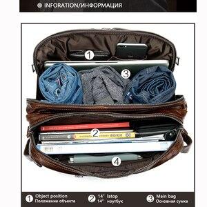 Image 4 - Westal grande capacidade masculino carteiras de couro genuíno negócios sacos de documentos para o portátil de couro bolsa 14 polegada computador saco 433