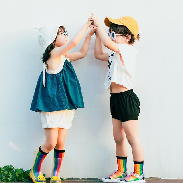 530b6744b00 US $2.19 |2018 Cute Baby Girls Socks Kids Multi Colored Striped Socks Long  Rainbow Boys School Footwear Ice Cream Socks Funny Brand Socks-in Socks ...