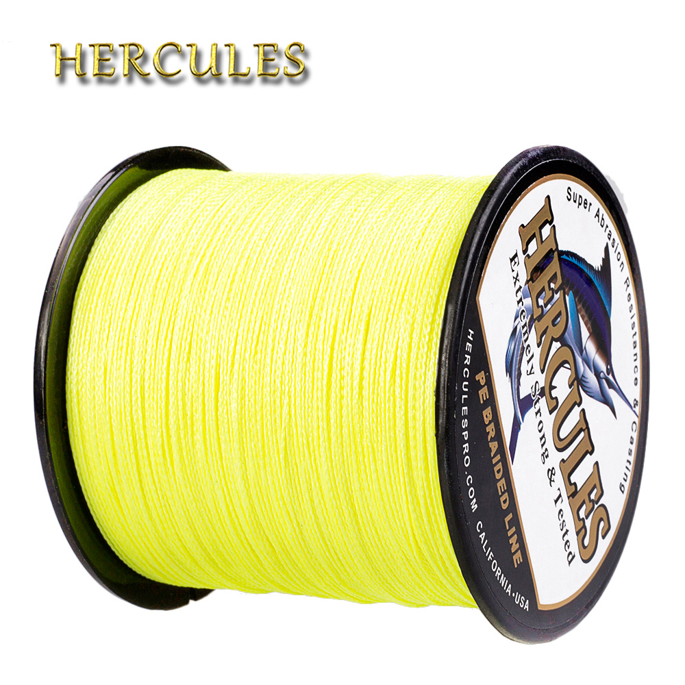 Hercules 100M 300M 500M 1000M 1500M 2000M Line For Fishing PE 4 Strands Carp Fishing Line Fluorescent Yellow Pesca Braided Wire