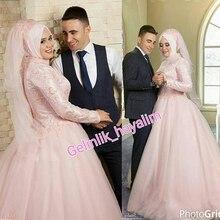 Wedding Dresses Luxury Lebanon Muslim Hijab Wedding Ball Gown Long Sleeves High Neck Wedding Dress Boho Robe De Mariage