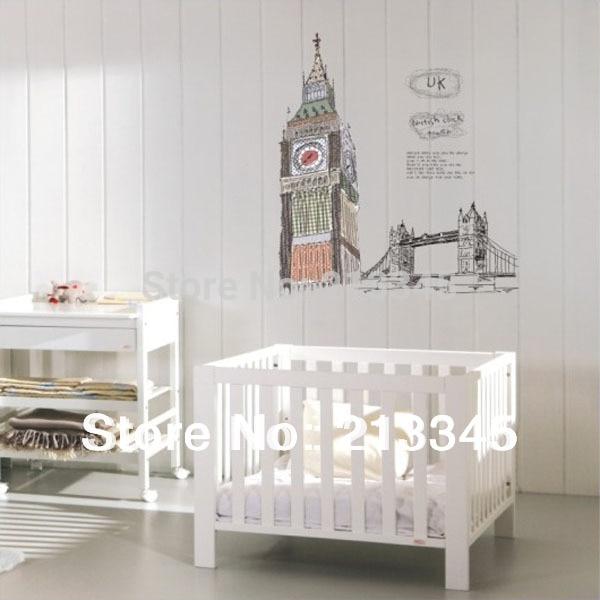 [saturday Monopoly] Famous Buildings Big Ben London Bridge Sticker Home Office Living Room Decor Parede Diy Wall Stickers Uk