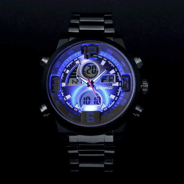 cedd0fa259d Men military sports watches Dual Time Quartz Analog Digital Watch colourful  LED light full steel watches