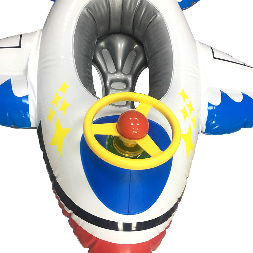 2018ใหม่เครื่องบินว่ายน้ำลอยทารกแรกเกิดทารกพอง1-5ปีที่มีล้อทุ่นสระว่ายน้ำเรือลอยน้ำทำให้พองของเล่นเด็ก