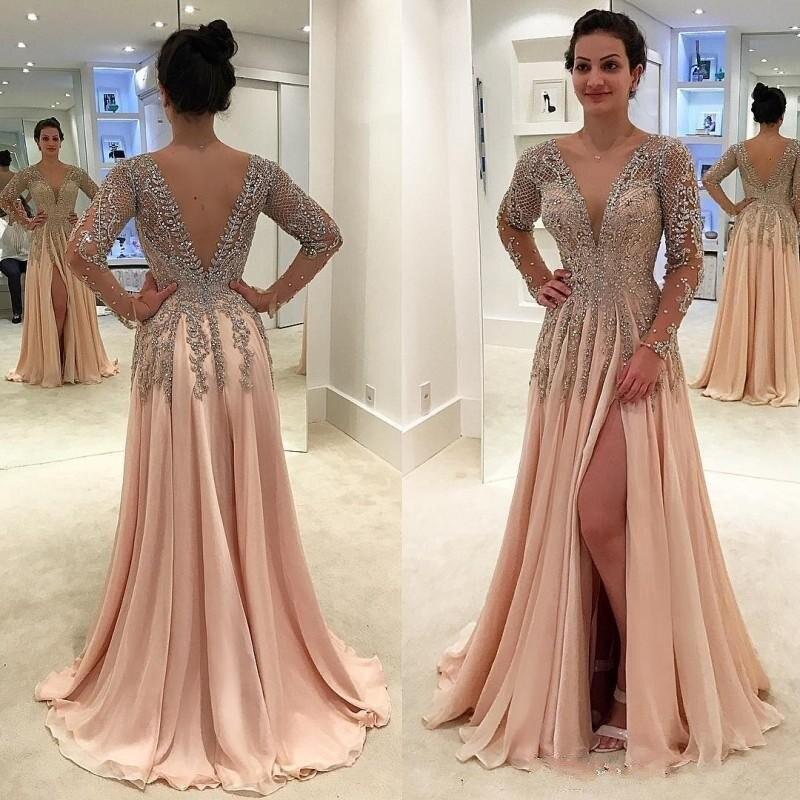 Luxury Beaded Crystal   Prom     Dresses   Long 2019 vestidos de fiesta de noche Deep V Neck Open Back Side Split Formal Evening Gowns