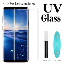 UV Tempered glass full glue For Samsung Galaxy S8 S9 film for S7 Edge Note 8 tempered 9 Screen Protector + tool